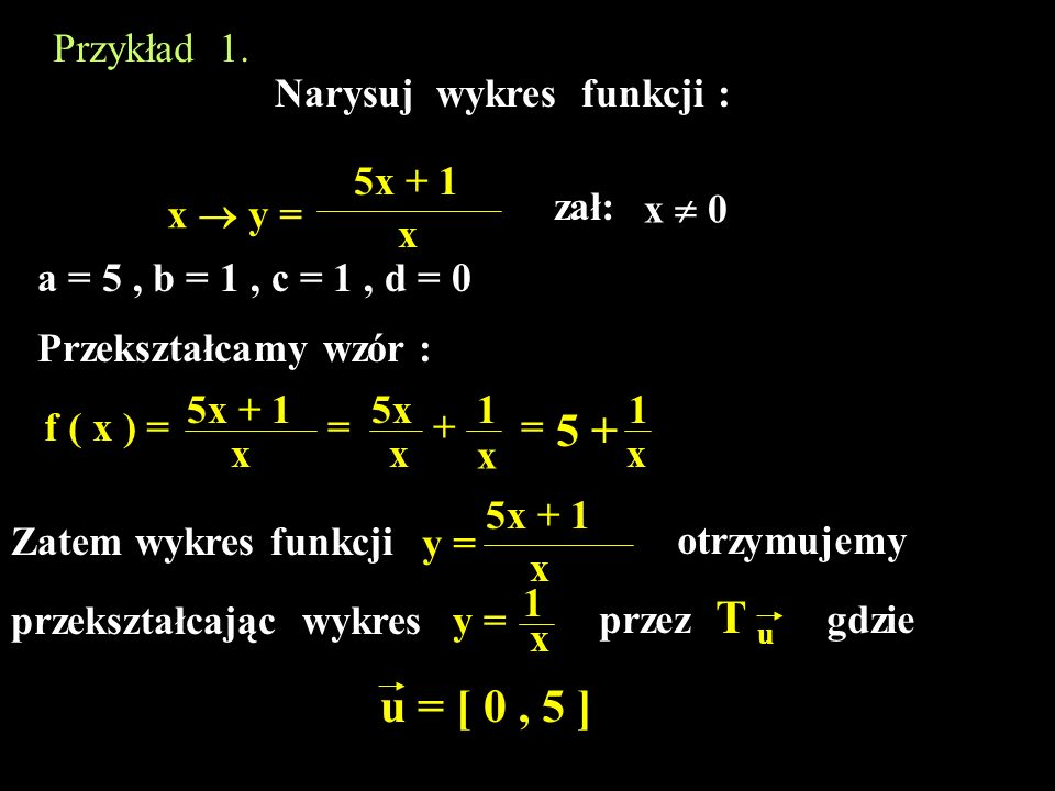5 + u = [ 0 , 5 ] Przykład 1. Narysuj wykres funkcji : 5x + 1 zał: